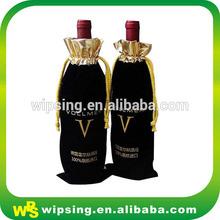Wholesale custom logo printed drawstring velvet wine bags
