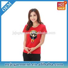 Custom Women Slim Fit 100% Polyester Korea Ladies Fashion T-shirt