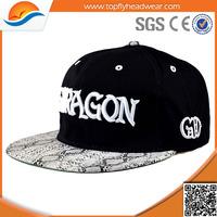 cheap custom embroidery flat brim snapback cap/high quality hip hop cap/hat