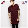 2015 hot sale cotton men plain elongated t shirt with side zipper