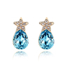 newest jewelry cluster blue crystal star earring