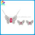 Nupcial indiano colar de jóias de ouro define borboleta de cristal metal meninas China fábrica barato colar de produtos