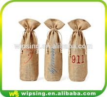Custom logo printed jute drawstring wine bottle bag
