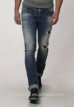 arrancado de mezclilla pantalones vaqueros para hombre flaco jeans destruido