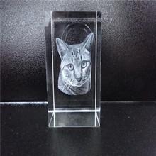 3D Laser Etched Crystal Cat For Gift
