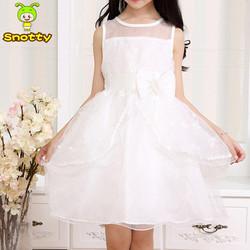 Fashion white flower girls dresses beautiful wedding party girl dress