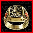 knight templar gold signet ring wit lion deep engraved