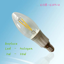 Occupy the Market Irresistibly!120lm/W 360 degree bent tip COB e14 led filament candle 3w