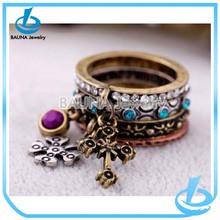 Retro fashion diamond vintage cross rings