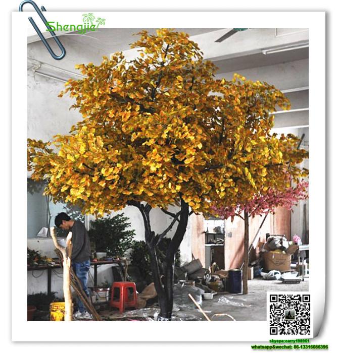 Sjyxs- 3. Inneneinrichtung künstliche Ginkgo-Baum Blattwerk Pflanzen ...