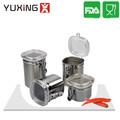4 pedaço açoinoxidável conjunto vasilha hermética com tampa de acrílico e braçadeira, chá surgar ou recipiente de armazenamento de caixa