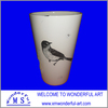 decorative cup with decal bird for dolomite