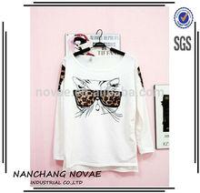 2014 Fashion Trendy NaluLa Women Clothes Tops Tees T shirt Leopard Glasses Kitten T-shirts no brand clothing