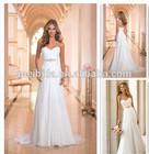 Chiffon Lace Up Beaded Sweetheart Sheath Gothic Corset Nude Wedding Dress 2014