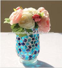 Blue White Color Seashell Long Stem Handmade Beautiful Glass Mosaic Vase