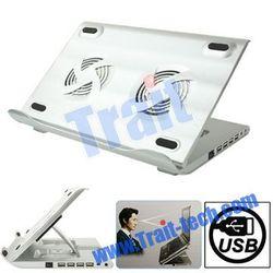 HH-S1001 4 USB 2.0 HUB Metal Feels Design Powerful Laptop USB Cooler Pad