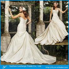 Hot selling fashion women sexy sweetheart sleeveless appliqued satin alibaba wedding dress