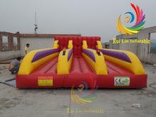 intriguing inflatable run sport best pvc 3 Lane Bungee Run