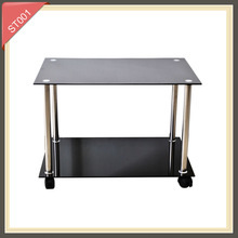 Modern tempered glass with wheels side table ST001
