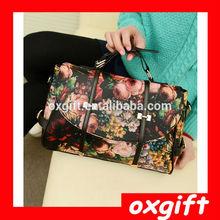 OXGIFT Fahion floral fashion women handbag,pu leather bag