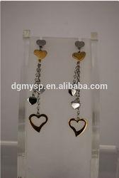 316 Steel fashion long heart shape earrings