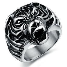 Hot sale Titanium Gothic Punk Style Men Ring Wolf 316L Steel Ring gj396