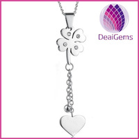 Charming Clover and heart necklace for ladies stainless steel jewelry
