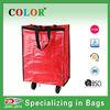 wheels PP woven foldable shopping bag for supermarket use