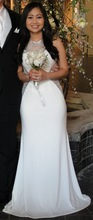 SJ168 white new design high neck see-through sleeveless beaded chiffon 2015 evening gown