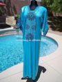 الترتر الساتان الازرق المغربي قفطان قفطان اللباس ماكسي عربية jalabiya الإسلام ثوب طويل الأكمام مساء اللباس عربية