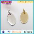 Plata de alta calidad/ovalado de oro pequeño forma personalizada etiquetas joyas de metal con letras grabadas