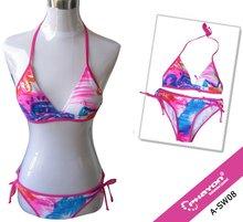 OEM &ODM pink Tie side piping triangle Lining Top With Optional Padding bikinis swimsuit swimwear