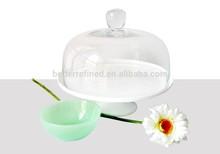 Pedestal Cake Plate Milk Glass
