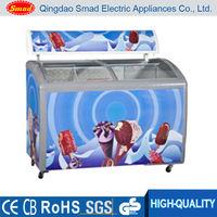 Big capacity curved sliding glass door chest freezer