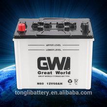 12V60ah extended service life car starting dry battery