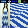 100% polyester white blue printed stripes chiffon