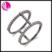 black titanium rings ring silver single stone finger rings Gun black plated Copper zircon