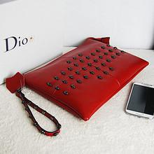 Fashion clutch bags genuine leather stylish skull clutch bag EMG3663