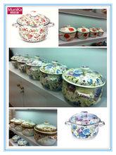 enamel cookware pan 3pot set with glass lid enamel pot cookware,induction kitchen cooking set,non-stick steel cookware pan set