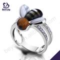 Abelha animal bonito estilo bee projeto da forma anéis de prata para adolescente