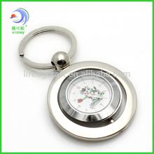 metal rotatable round clock keychain