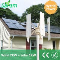 2KW VAWT + 1KW PV Panels Solar Wind Hybrid Power System