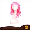 YW007 Kanekalon sassy hot pink mid-length wavy wig
