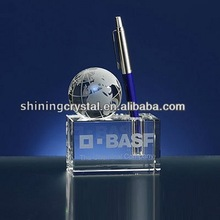 engraved crystal globe personalized pen holder