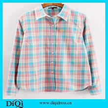 2015 Canton Fair style GuangZhou wholesale fashion plaid blouse