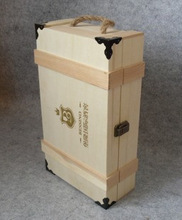 unfinished corner-wrapped wooden case for wine bottles