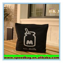 Modern milk bottle print High Quality Black cotton canvas duffel bag