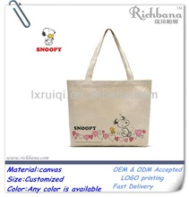 snoopy image printed canvas bags