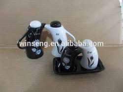 Kitchenware Ceramic salt pepper Oil and Vinegar cruet sets