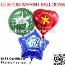 custom imprint helium aluminium foil balloons